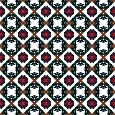 Geo Art. Endless Repeat Painting.  Talavera, Azulejos, Spain, Islam, Arabic Ornament. Geo Texture. Native Canvas. Black, Red Tile. Organic Motif.