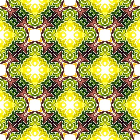 Geo Surface. Endless Repeat Painting.  Islam, Orient, Spanish, Talavera Ornament. Geo Geometric. Folklore Ethnic Rug. Burgundy, Green Surface. Woven Print.