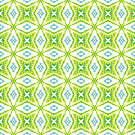 Chevron Geometric Hand Drawn Painted.  Bohemian, Hippie, Boho, Gypsy Seamless Pattern.  Geo Surface. Tribal Summer Canvas. Blue, Green  Print. Geometric Element. Stock Photo - 150291810