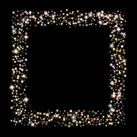 Gold Glitter Stars. Luxury Shiny Confetti. Scattered little sparkle. Flash glow silver element. Random magic tiny light. Hexagon stellar fall black background. New Year, Christmas Vector illustration. Çizim