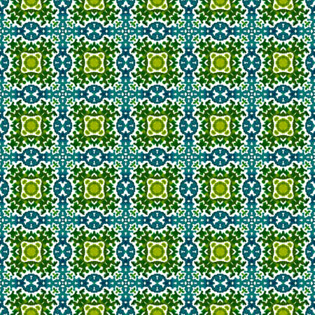 Traditional Art. Hand Drawn Painted. Turkish, Arab, Arabesque, East Seamless Pattern. Geo Texture. Folk Vintage Linen. Blue, Green  Tile. Medallion Surface.