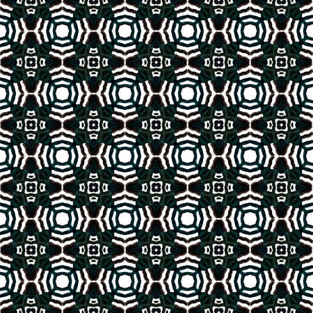 Modern Abstract, Endless Repeat Painting.  Peruvian, Mexican, Navajo Ornament. Modern Abstract. Ancient Cloth. Black, White Tile. Geometrical Print.