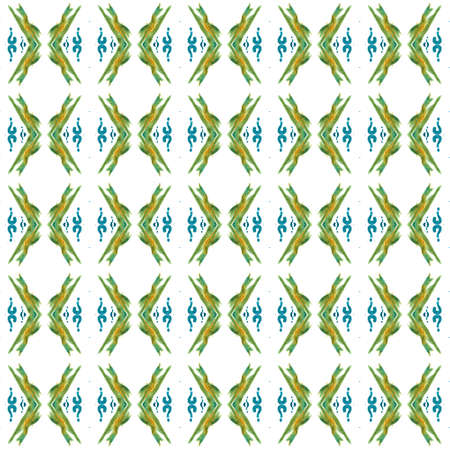 Geo Texture. Hand Drawn Painted. Baltic, Slavic, Pagan, Northern, Seamless Pattern.  Modern Abstract. Ancient Wallpaper. Blue, Green Element. Geometrical Texture.