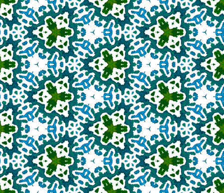 Ethnic Texture. Hand Drawn Painted. Pagan, Northern, Russian, Celtic Seamless Pattern. Geo Surface. Folklore Carpet. Blue, Green Ornament. Geometric Pattern.