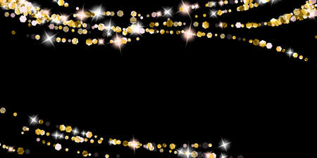 Gold Glitter Stars. Luxury Shiny Confetti. Scattered little sparkle. Flash glow silver element. Random magic tiny light. Hexagon stellar fall black background. New Year, Christmas Vector illustration. 向量圖像