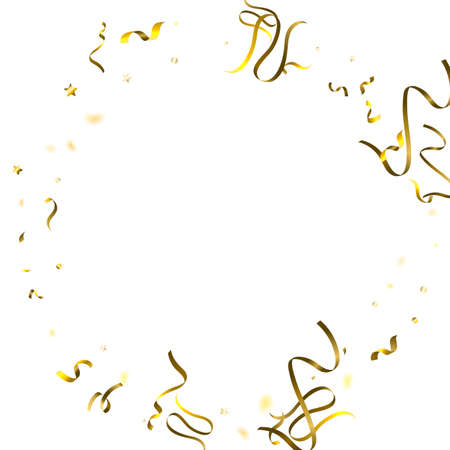 Holiday Serpentine. Gold Foil Streamers Ribbons. Confetti Star Falling on White Background. Party, Birthday Vector Template. Sparkle Serpentine. Celebration Elements. Bright Festive Tinsel Gold Color. 向量圖像