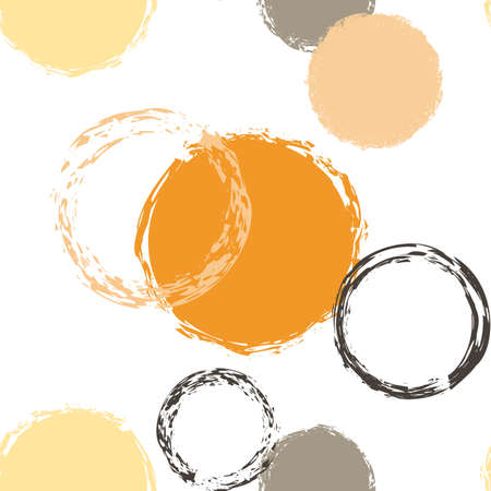 Black Brush Circle. Vector Seamless Pattern. Vivid Ornament. White Abstract Background With Watercolor Fall Chaotic Shapes. Trend Artistic Packaging. Chalk Brush Rounds, Confetti.
