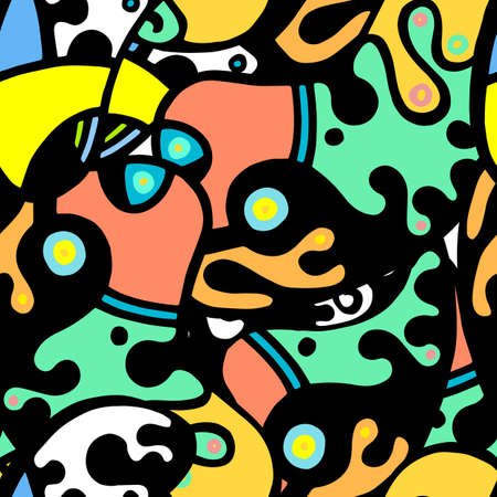 Street Art Print. Modern Seamless Pattern.  Color, Multicolor Fun Hand Drawn. Linear Collage. Bizarre Street Art. Creative Trendy Style. Abstract, Contrast Shape. Doodle Crazy Vector Background.  向量圖像