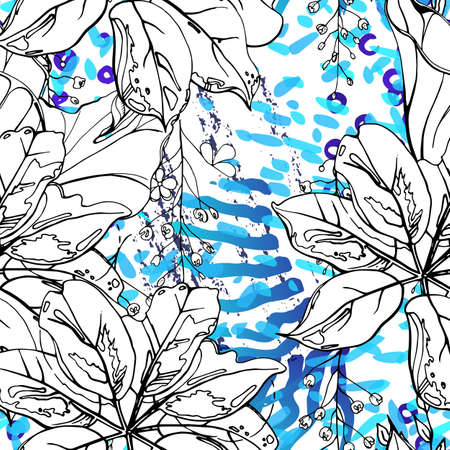 Floral Black and White Seamless Pattern. Modern Artistic Watercolor Print. Fashion Outline Flowers Surface. Botanic Vector Motif on Ink Stains Texture. Drawing Abstract Leaf. Trend Tropic Background.