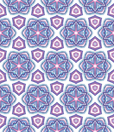 Geo Texture. Hand Drawn Painted. Tunisian, Turkish, Arab, Arabesque Seamless Pattern. Geo Geometric. Geo Tribal Bed Linen. Purple, Pink Tile. Geometry Element.