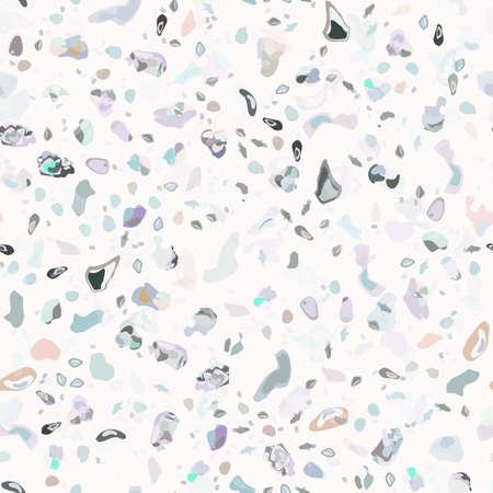 Terrazzo Texture Vector. Flooring Seamless Pattern. Floor Granite Textured. Stone, Rock, Marble Textile Background. Natural Pavement, Mosaic Template. Quartz, Pebble Tile. Design Interior Decor. Illusztráció