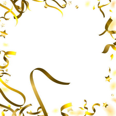 Holiday Serpentine. Gold Foil Streamers Ribbons. Confetti Star Falling on White Background. Party, Birthday Vector Template. Sparkle Serpentine. Celebration Elements. Bright Festive Tinsel Gold Color. Ilustracja