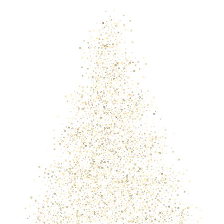 Christmas tree. Gold Glitter Stars. Luxury Shiny Confetti. Scatter little sparkle. Flash glow element. Random magic tiny light. Stellar fall white background. New Year, Christmas Vector illustration.
