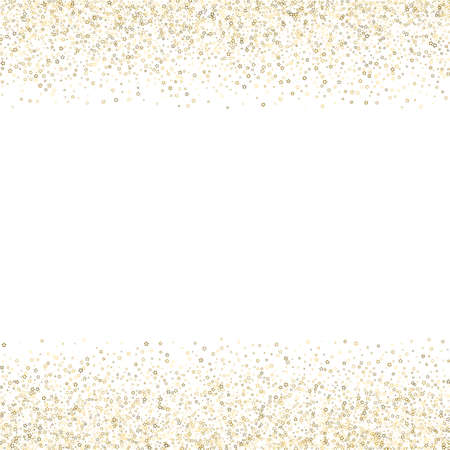 Gold Glitter Stars. Luxury Shiny Confetti. Scattered little sparkle. Flash glow silver element. Random magic tiny light. Stellar fall white background. New Year, Christmas Vector illustration.