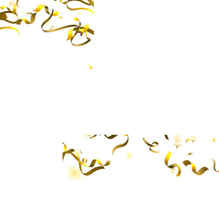 Holiday Serpentine. Gold Foil Streamers Ribbons. Confetti Star Falling on White Background. Party, Birthday Vector Template. Sparkle Serpentine. Celebration Elements. Bright Festive Tinsel Gold Color. Illustration
