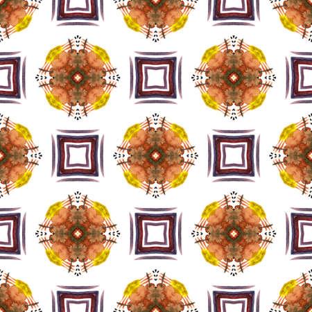 Tribal Art. Endless Repeat Painting.  American Navajo, Cherokee Ornament. Watercolor Surface. Folk Bed Linen. Red, Orange Tile. Natural Motif. 免版税图像