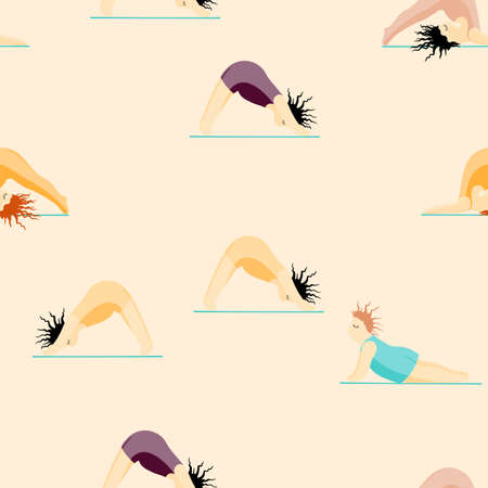 Girls Doing Yoga. Seamless Pattern Woman Pose Practicing Yoga. Happy Body Positive Concept. Love My Body. Asana Spiritual. Cartoon Character, Brush Contour. Fat, Overweight, Plus Size, Obese Vector.
