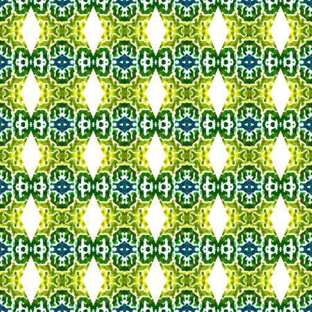 Traditional Art. Hand Drawn Painted. Pagan, Northern, Russian, Celtic Seamless Pattern. Geo Geometric. Geo Fabric. Blue, Green Surface. Medallion Motif. 免版税图像 - 151149333