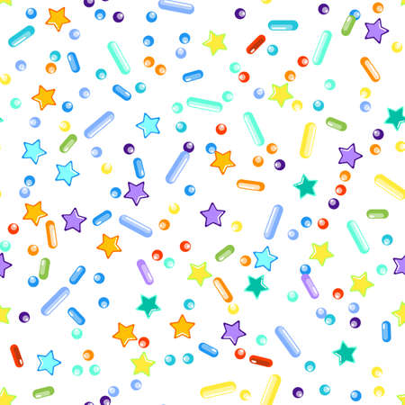 Sprinkles grainy. Seamless Pattern. Cupcake donuts, dessert, sugar, bakery background. Sweet confetti on white background. Ilustração