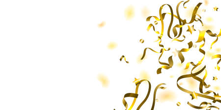 Holiday Serpentine. Gold Foil Streamers Ribbons. Confetti Star Falling on White Background. Party, Birthday Vector Template. Sparkle Serpentine. Celebration Elements. Bright Festive Tinsel Gold Color. Ilustração