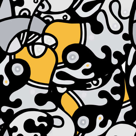 Psychedelic Print. Modern Seamless Pattern. Black, Yellow Summer Hand Drawn. Linear Collage. Bizarre Street Art. Creative Trendy Style. Abstract, Contrast Shape. Doodle Crazy Vector Background.