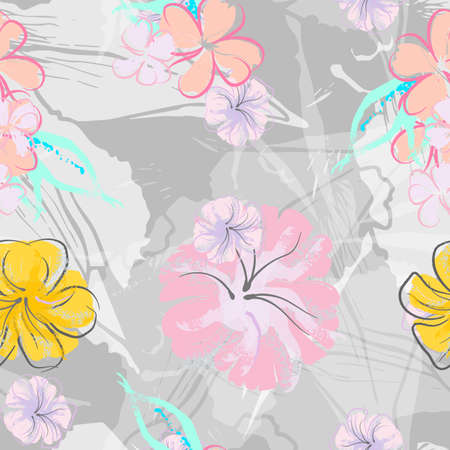 Pink Flowers Blooming Pattern. Pastel Watercolor Floral Print. Little Pink, Yellow, Lilac flower on grey leaf. Elegant brush Background. Seamless Botanical Vector Surface. Texture For Fashion Prints. Vector Illustration