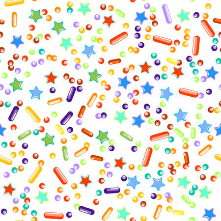 Sprinkles grainy. Seamless Pattern. Cupcake donuts, dessert, sugar, bakery background. Sweet confetti on white background. Vector Illustration sprinkles holiday designs, party, birthday, invitation.