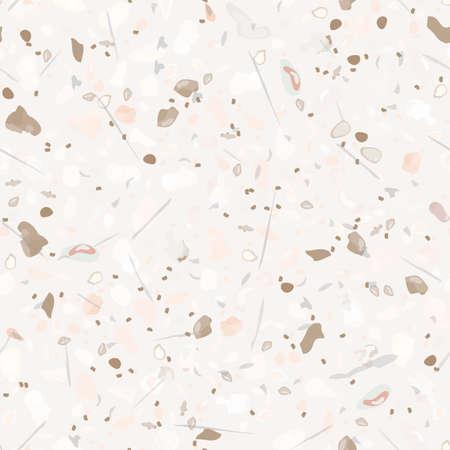 Terrazzo Texture Vector. Flooring Seamless Pattern. Floor Granite Textured. Stone, Rock, Marble Textile Background. Natural Pavement, Mosaic Template. Quartz, Pebble Tile. Design Interior Decor. 向量圖像