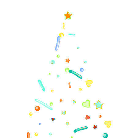 Sprinkles grainy. Cupcake donuts, dessert, sugar, bakery background. Sweet confetti on white chocolate glaze background. Vector Illustration sprinkles holiday designs, party, birthday, invitation. Vettoriali