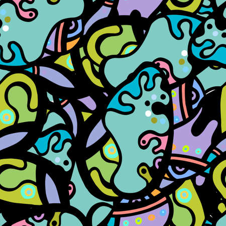 Childish Print. Modern Seamless Pattern.  Color, Multicolor Funky Hand Drawn. Linear Collage. Bizarre Street Art. Creative Trendy Style. Abstract, Contrast Shape. Doodle Crazy Vector Background.