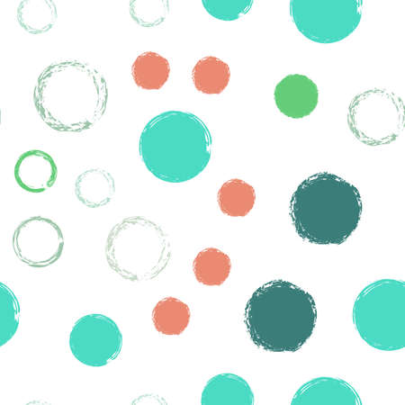 Colorful Polka Dots. Pastel Vector Seamless Pattern. Vivid Illustration. White Abstract Background With Watercolor Fall Chaotic Shapes. Trend Soft Textile. Chalk Brush Rounds, Confetti.