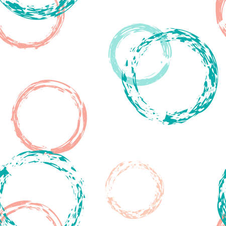Colorful Polka Dots. Pastel Vector Seamless Pattern. Vivid Design. White Abstract Background With Watercolor Fall Chaotic Shapes. Modern Soft Textile. Chalk Brush Rounds, Confetti. 矢量图像