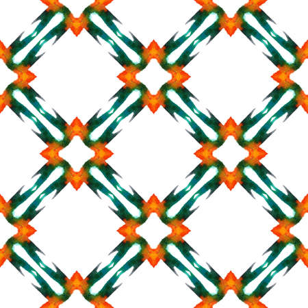 Traditional Art. Hand Drawn Painted. Moroccan, Tunisian, Turkish, Arab Seamless Pattern. Geo Surface. Folklore Fabric. Green, Orange Print. Geometrical Element.