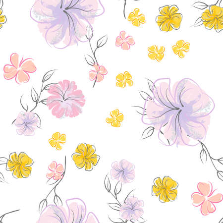 Pink Flowers Blooming Pattern. Pastel Watercolor Floral Print. Little Pink, Yellow, Lilac flower on grey leaf. Elegant brush Background. Seamless Botanical Surface. Texture For Fashion Prints. Stock Illustratie