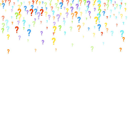 Question marks scattered on white background. Quiz, doubt, poll, survey, interrogation, query background. Multicolored template for opinion poll, public poll. Rainbow color.