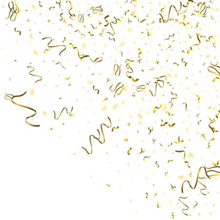 Holiday Serpentine. Gold Foil Streamers Ribbons. Confetti Star Falling on White Background. Party, Birthday Template. Sparkle Serpentine. Celebration Elements. Bright Festive Tinsel Gold Color.