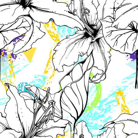 Floral Black White Print. Tropical Jungle Leaf on Geometric Brush Shapes. Modern Motif. Foliage Summer Seamless Pattern. Stock Illustratie