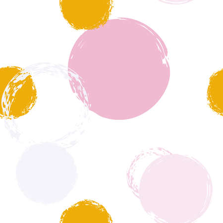 Cute Polka Dots. Endless Repeat Print. Multi color Illustration. White Abstract Background With Watercolor Fall Chaotic Shapes. Modern Artistic Packaging. Chalk Brush Rounds, Confetti. Stockfoto - 154709004