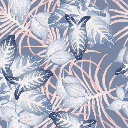 Tropical Leaf Modern Motif. Jungle Print. Foliage Summer Seamless Pattern. Trending Greenery Background. Artistic Botanic Surface. Abstract Plant Texture For Fashion. Soft Pastel Brush Drawing.