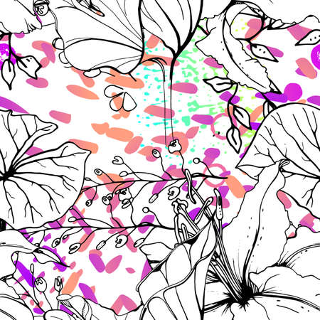 Artistic Floral Seamless Pattern. Outline Flowers Surface. Blooming on Watercolor Texture For Fashion. Drawing Abstract Leaf. Trends Tropic Background. Black and White Print.