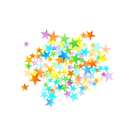 Rainbow Festive Confetti. Carnival Template. Colorful Star Falling. Beautiful Holidays Party. Little Tiny Multi color Sprockets on White Background.