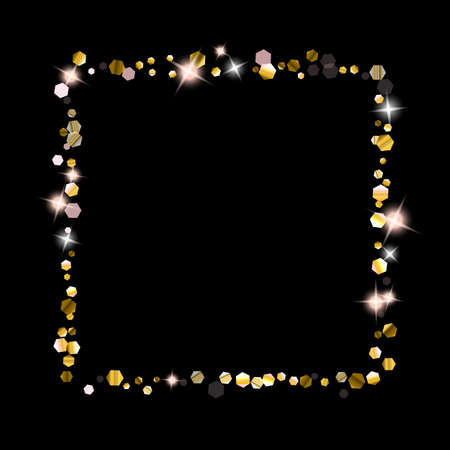 Gold Glitter Stars. Luxury Shiny Confetti. Scattered little sparkle. Flash glow silver element. Random magic tiny light. Hexagon stellar fall black background. Stockfoto - 154709020