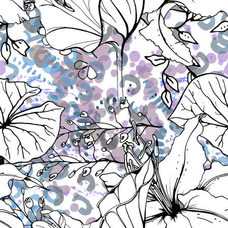 Floral Black and White Seamless Pattern. Modern Artistic Watercolor Print. Fashion Outline Flowers Surface. Stock Illustratie