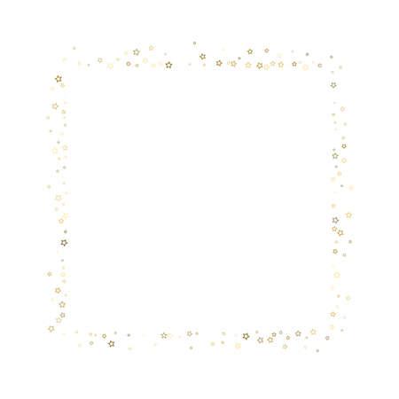Gold Glitter Stars. Luxury Shiny Confetti. Scattered little sparkle. Flash glow silver element. Random magic tiny light. Stellar fall white background.
