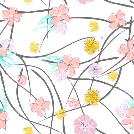 Pink Flowers Blooming Pattern. Pastel Watercolor Floral Print. Little Pink, Yellow, Lilac flower on grey leaf. Elegant brush Background.