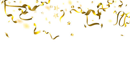 Holiday Serpentine. Gold Foil Streamers Ribbons. Confetti Star Falling on White Background.