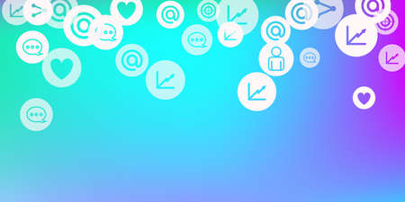 Social media marketing, Communication networking concept. Random icons social media services tags on color background. Comment, friend, like, share, target, message. Stock Illustratie