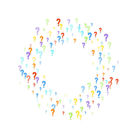 Question marks scattered on white background. Quiz, doubt, poll, survey, interrogation, query background. Multicolored template for opinion poll, public poll. Rainbow color. Stockfoto - 154709569