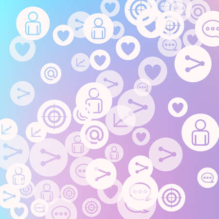 Social media marketing, Communication networking concept. Random icons social media services tags on color background. Comment, friend, like, share, target, message. Vector Internet concept. Stockfoto - 154842668