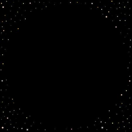 Gold Glitter Stars. Luxury Shiny Confetti. Scattered little sparkle. Flash glow silver element. Random magic tiny light. Hexagon stellar fall black background. New Year, Christmas Vector illustration. Stock Illustratie